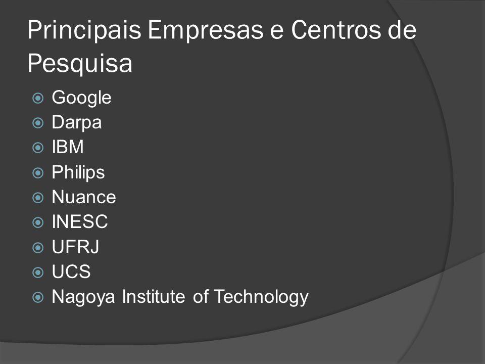 Principais Empresas e Centros de Pesquisa  Google  Darpa  IBM  Philips  Nuance  INESC  UFRJ  UCS  Nagoya Institute of Technology