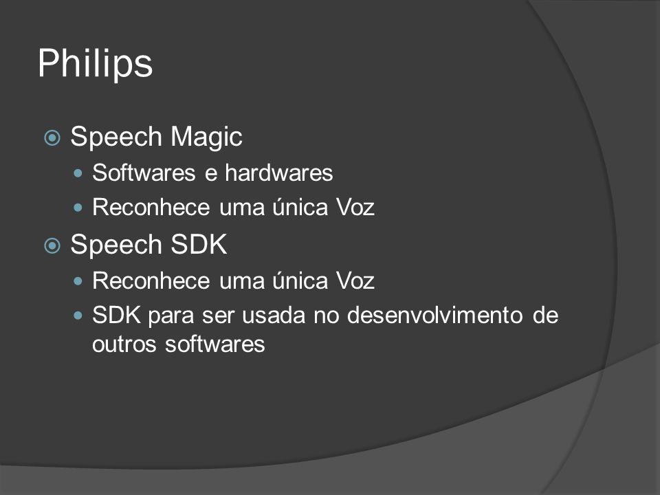 Philips  Speech Magic Softwares e hardwares Reconhece uma única Voz  Speech SDK Reconhece uma única Voz SDK para ser usada no desenvolvimento de out