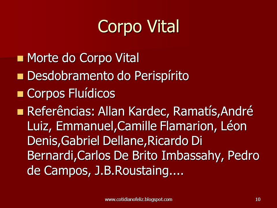 www.cotidianofeliz.blogspot.com10 Corpo Vital Morte do Corpo Vital Morte do Corpo Vital Desdobramento do Perispírito Desdobramento do Perispírito Corp