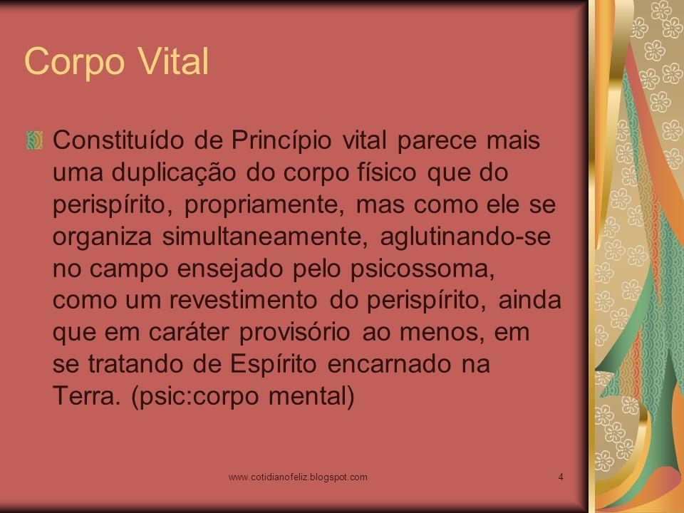 www.cotidianofeliz.blogspot.com4 Corpo Vital Constituído de Princípio vital parece mais uma duplicação do corpo físico que do perispírito, propriament