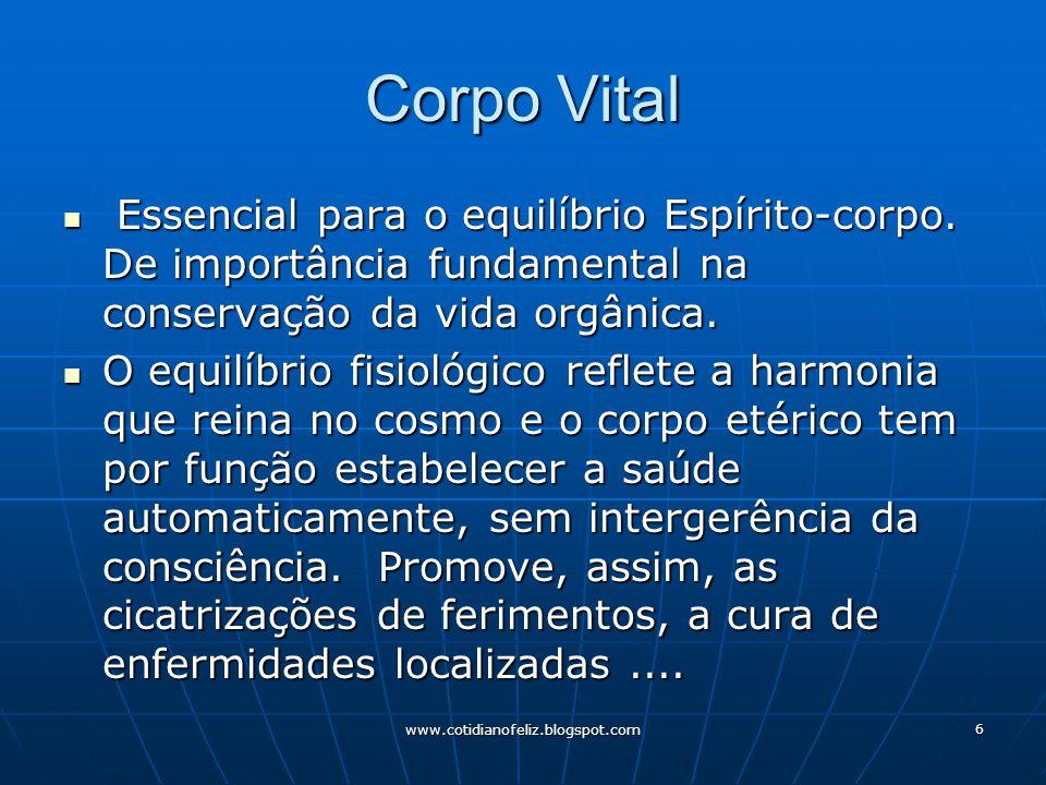 www.cotidianofeliz.blogspot.com 6 Corpo Vital Essencial para o equilíbrio Espírito-corpo. De importância fundamental na conservação da vida orgânica.