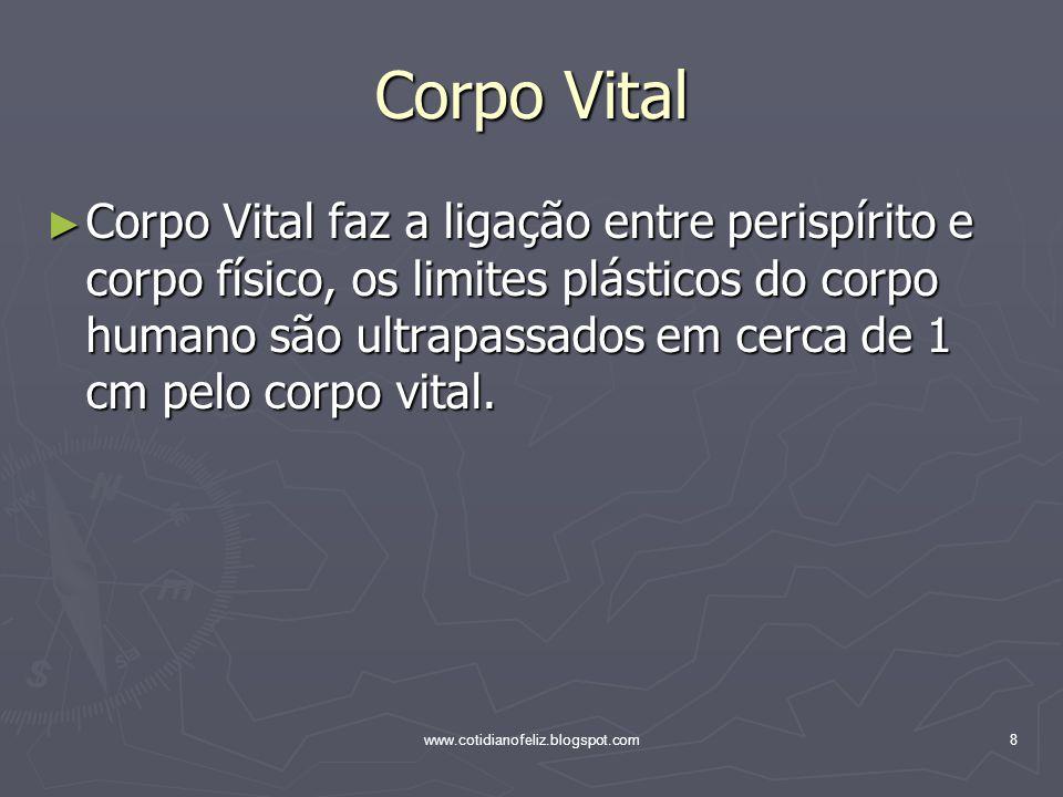 www.cotidianofeliz.blogspot.com8 Corpo Vital ► Corpo Vital faz a ligação entre perispírito e corpo físico, os limites plásticos do corpo humano são ul