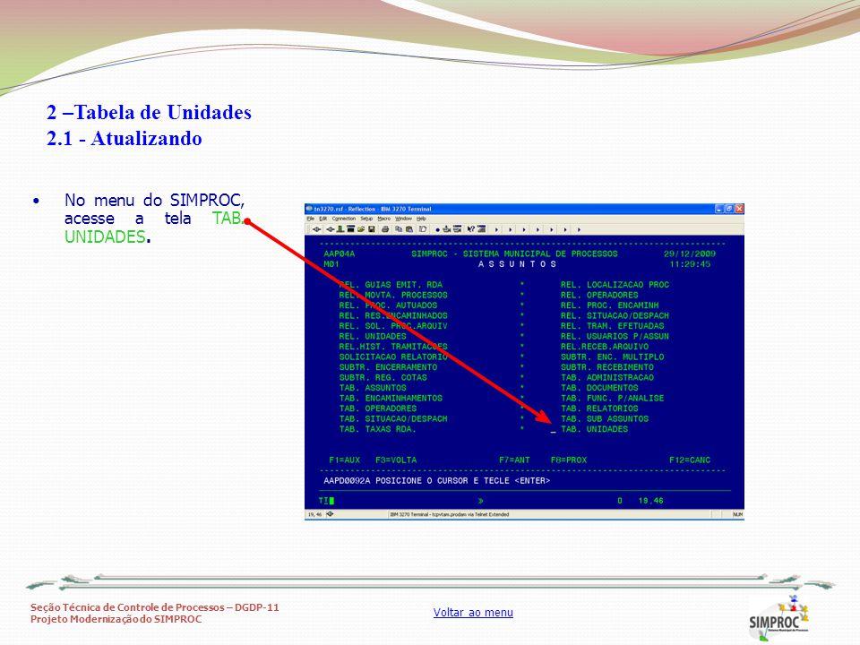 Seção Técnica de Controle de Processos – DGDP-11 Projeto Modernização do SIMPROC Voltar ao menu No menu do SIMPROC, acesse a tela TAB. UNIDADES. 2 –Ta