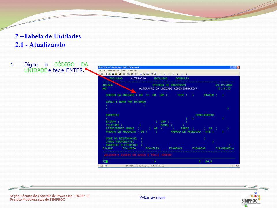 Seção Técnica de Controle de Processos – DGDP-11 Projeto Modernização do SIMPROC Voltar ao menu 1.Digite o CÓDIGO DA UNIDADE e tecle ENTER. 2 –Tabela