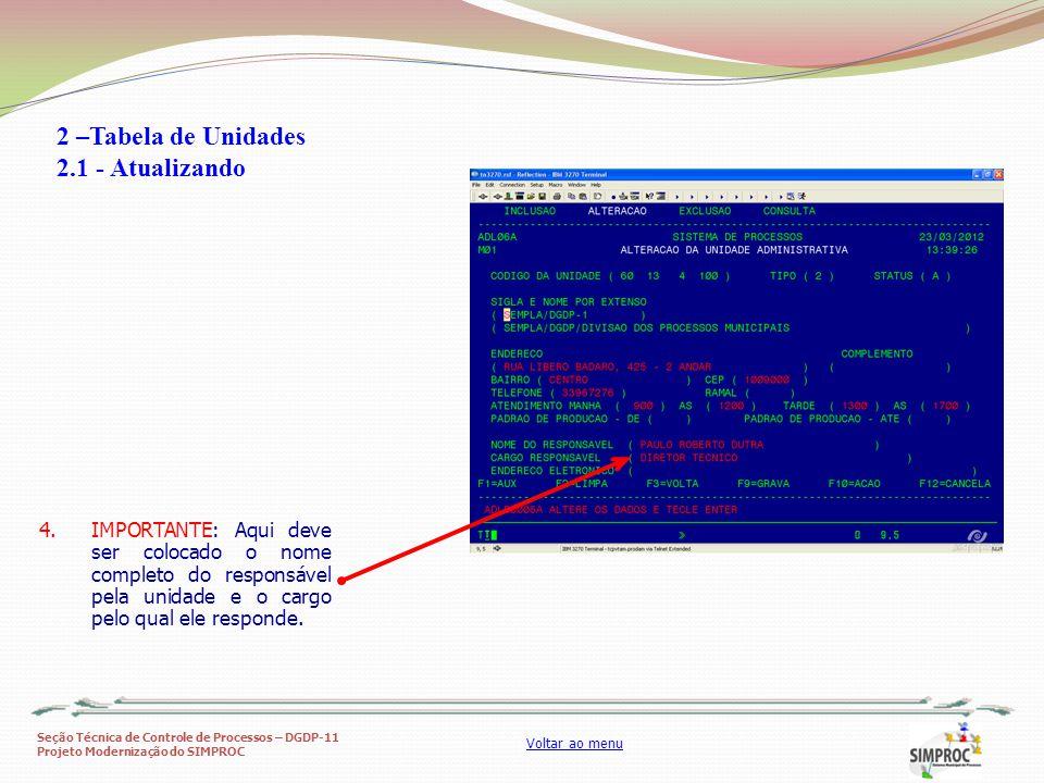 Seção Técnica de Controle de Processos – DGDP-11 Projeto Modernização do SIMPROC Voltar ao menu 4.IMPORTANTE: Aqui deve ser colocado o nome completo d