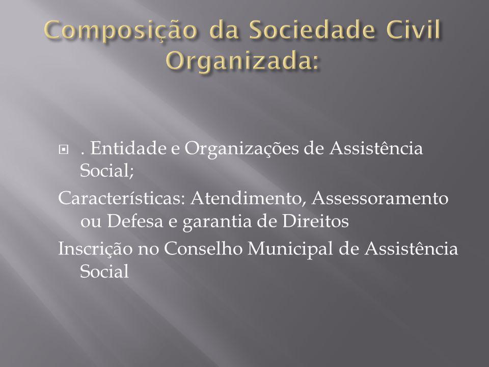 . Entidade e Organizações de Assistência Social; Características: Atendimento, Assessoramento ou Defesa e garantia de Direitos Inscrição no Conselho