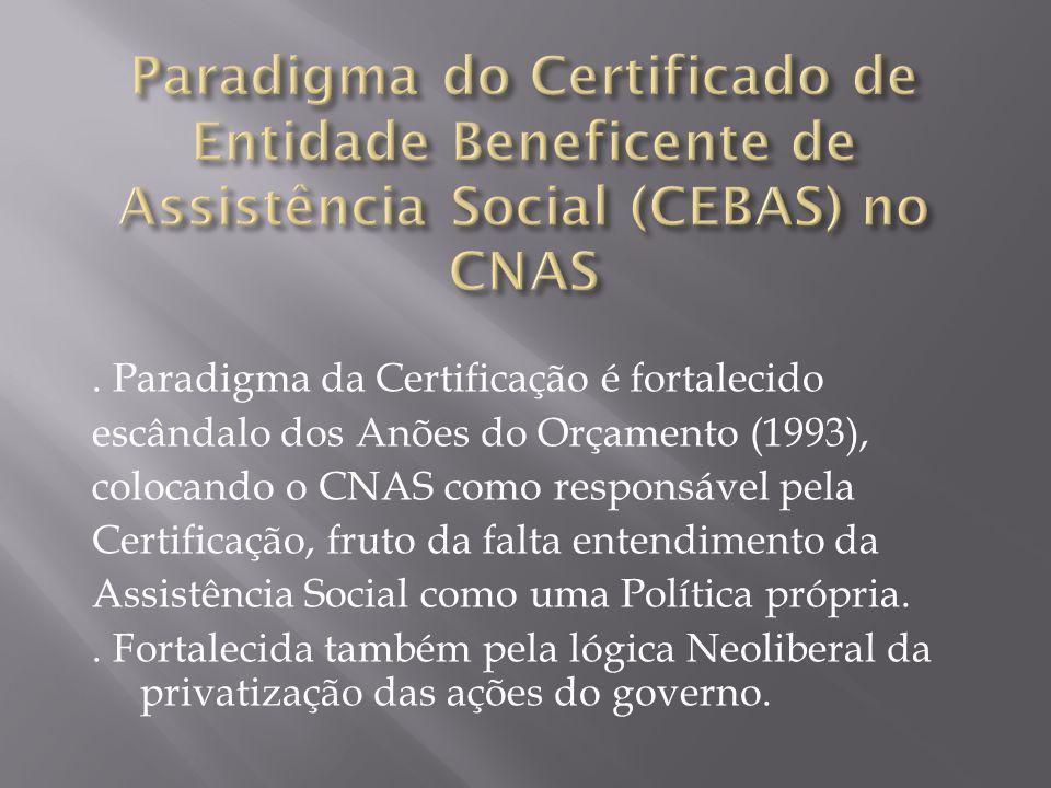Paradigma da Certificação é fortalecido escândalo dos Anões do Orçamento (1993), colocando o CNAS como responsável pela Certificação, fruto da falta entendimento da Assistência Social como uma Política própria..