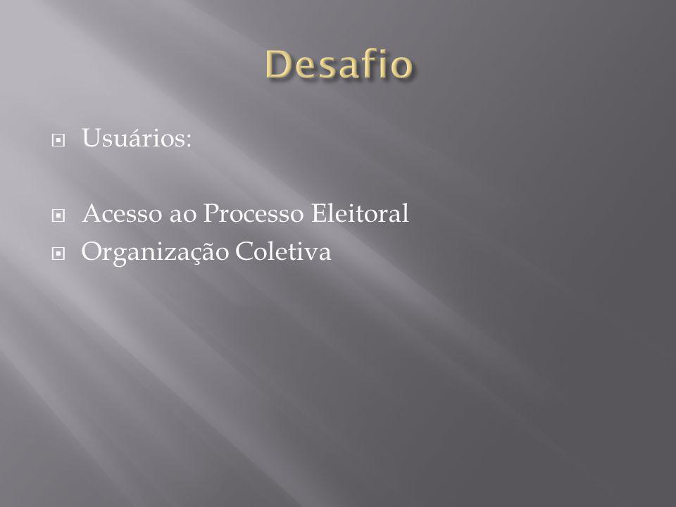  Usuários:  Acesso ao Processo Eleitoral  Organização Coletiva