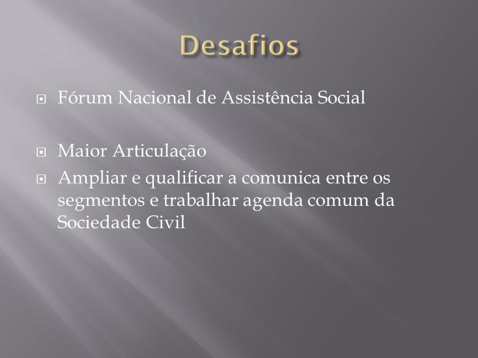  Fórum Nacional de Assistência Social  Maior Articulação  Ampliar e qualificar a comunica entre os segmentos e trabalhar agenda comum da Sociedade Civil