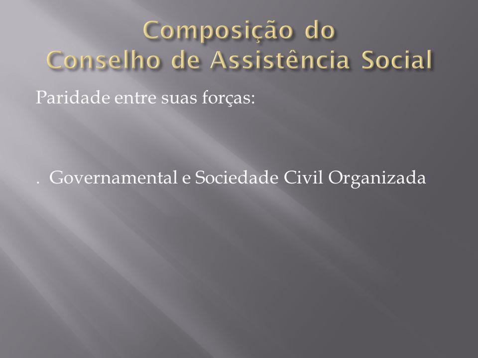 Paridade entre suas forças:. Governamental e Sociedade Civil Organizada