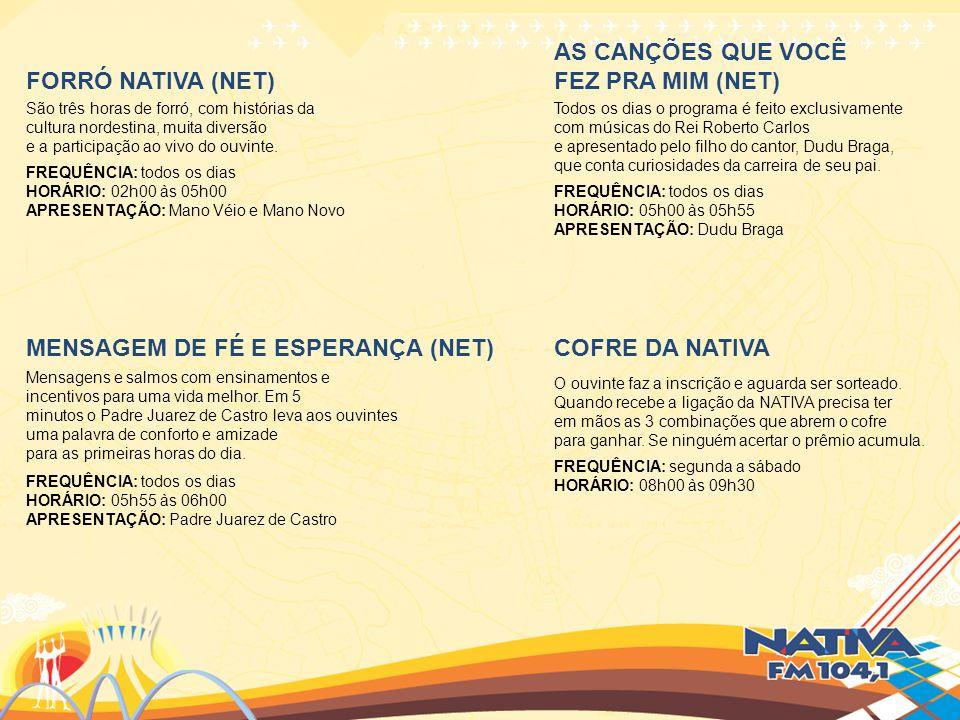FORRÓ NATIVA (NET) São três horas de forró, com histórias da cultura nordestina, muita diversão e a participação ao vivo do ouvinte. FREQUÊNCIA: todos