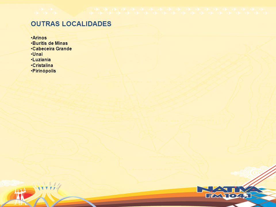 OUTRAS LOCALIDADES Arinos Buritis de Minas Cabeceira Grande Unai Luziania Cristalina Pirinópolis