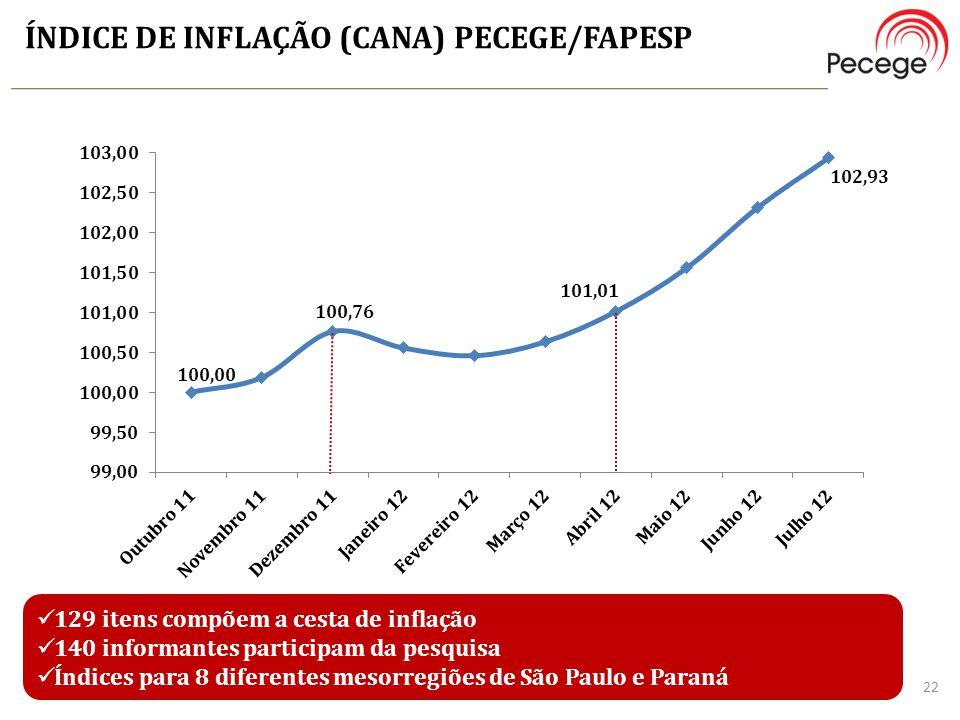 ÍNDICE DE INFLAÇÃO (CANA) PECEGE/FAPESP 129 itens compõem a cesta de inflação 140 informantes participam da pesquisa Índices para 8 diferentes mesorre