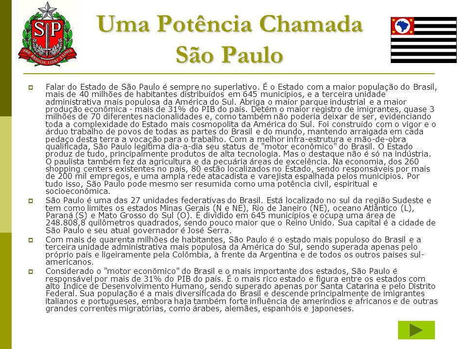 Uma Potência Chamada São Paulo  Falar do Estado de São Paulo é sempre no superlativo. É o Estado com a maior população do Brasil, mais de 40 milhões