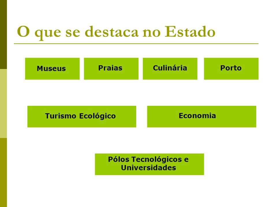 O que se destaca no Estado Museus PraiasCulináriaPorto Turismo Ecológico Economia Pólos Tecnológicos e Universidades