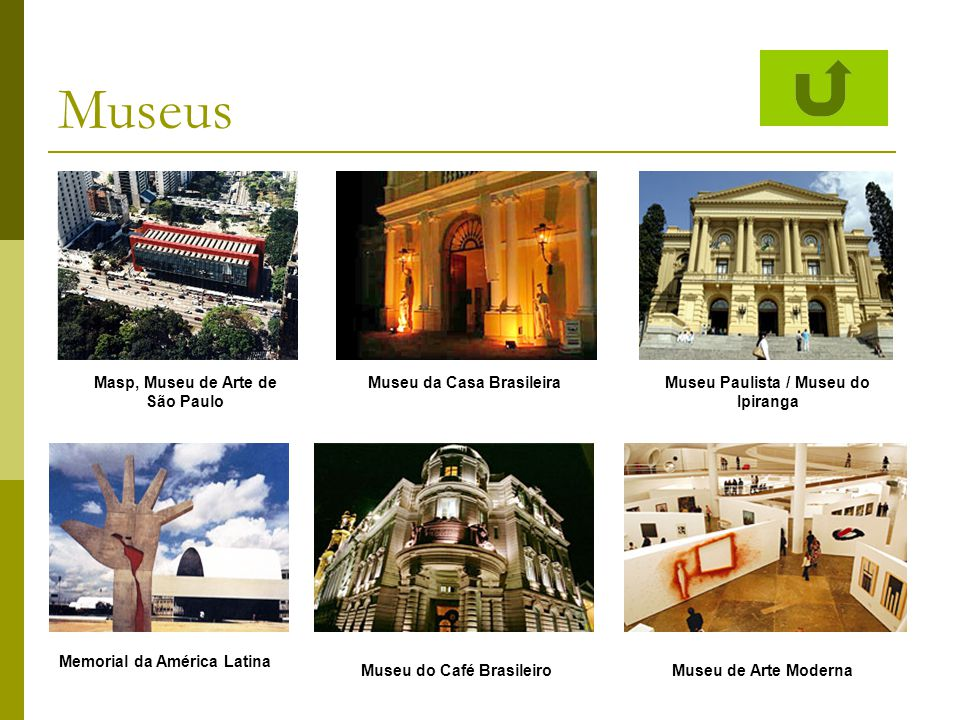 Museus Masp, Museu de Arte de São Paulo Museu da Casa BrasileiraMuseu Paulista / Museu do Ipiranga Memorial da América Latina Museu do Café Brasileiro