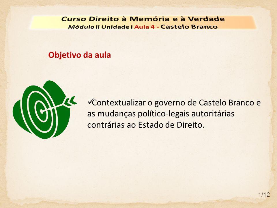 2/12 O Governo Militar de Castelo Branco Castelo Branco foi indicado pelo alto comando militar e eleito presidente pelo Congresso Nacional, iniciando o seu período presidencial em 15 de abril de 1964 até 15 de março de 1967.