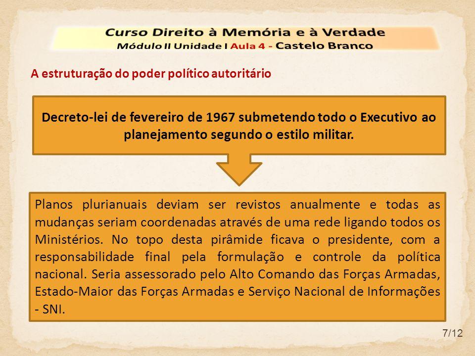 7/12 A estruturação do poder político autoritário Planos plurianuais deviam ser revistos anualmente e todas as mudanças seriam coordenadas através de