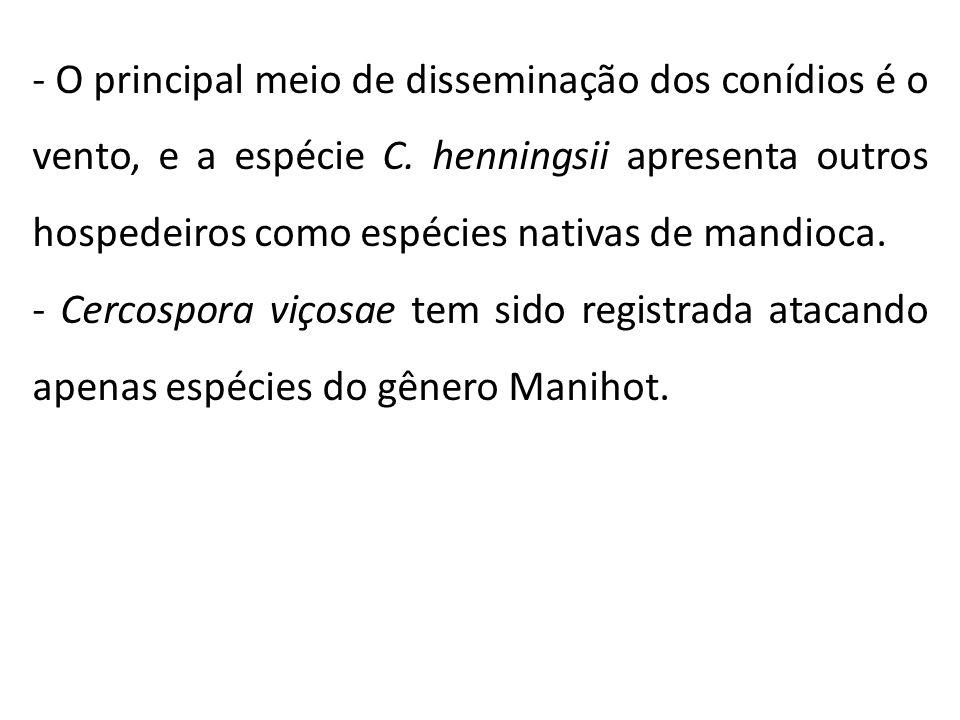- O principal meio de disseminação dos conídios é o vento, e a espécie C. henningsii apresenta outros hospedeiros como espécies nativas de mandioca. -