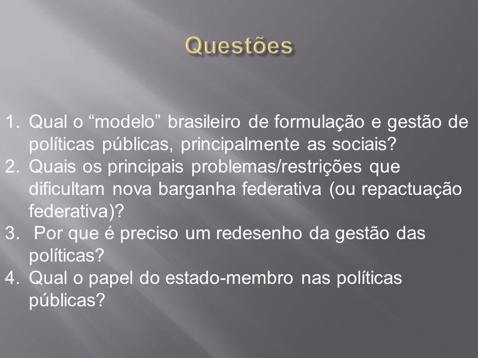 1.Qual o modelo brasileiro de formulação e gestão de políticas públicas, principalmente as sociais.