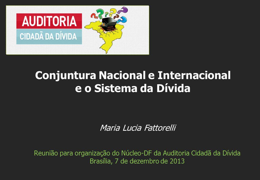 Maria Lucia Fattorelli Reunião para organização do Núcleo-DF da Auditoria Cidadã da Dívida Brasília, 7 de dezembro de 2013 Conjuntura Nacional e Internacional e o Sistema da Dívida