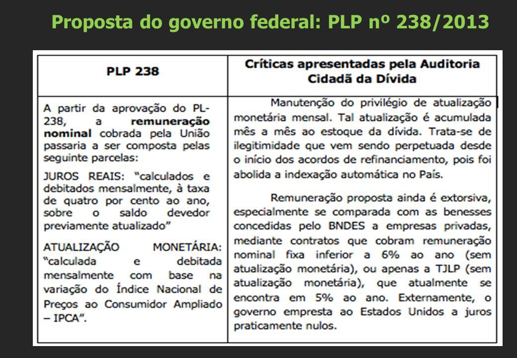 Proposta do governo federal: PLP nº 238/2013