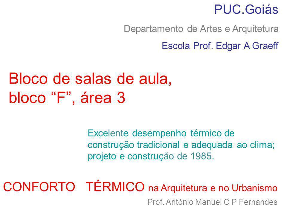 CONFORTO TÉRMICO na Arquitetura e no Urbanismo Prof. António Manuel C P Fernandes PUC.Goiás Departamento de Artes e Arquitetura Escola Prof. Edgar A G