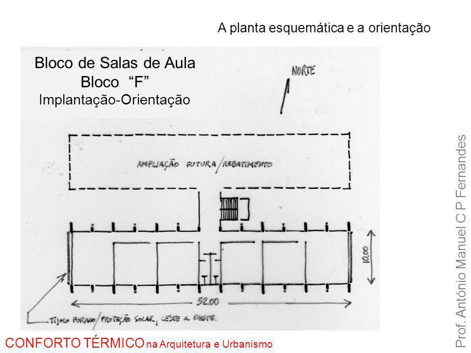 """A planta esquemática e a orientação Prof. António Manuel C P Fernandes CONFORTO TÉRMICO na Arquitetura e Urbanismo Bloco de Salas de Aula Bloco """"F"""" Im"""