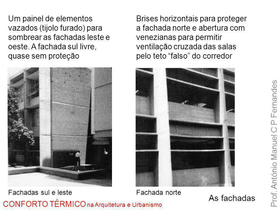As fachadas Prof. António Manuel C P Fernandes CONFORTO TÉRMICO na Arquitetura e Urbanismo Fachadas sul e lesteFachada norte Um painel de elementos va
