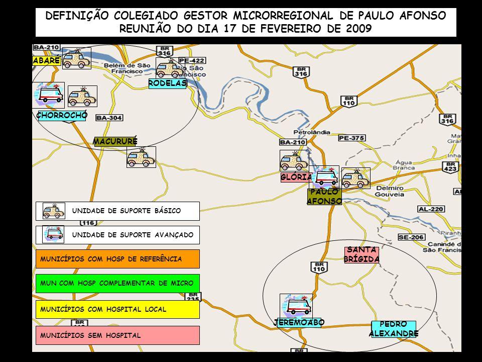 PAULO AFONSO CHORROCHÓ ABARÉ MACURURÉ RODELAS GLÓRIA SANTA BRÍGIDA PEDRO ALEXANDRE JEREMOABO MUNICÍPIOS COM HOSP DE REFERÊNCIA MUN COM HOSP COMPLEMENT