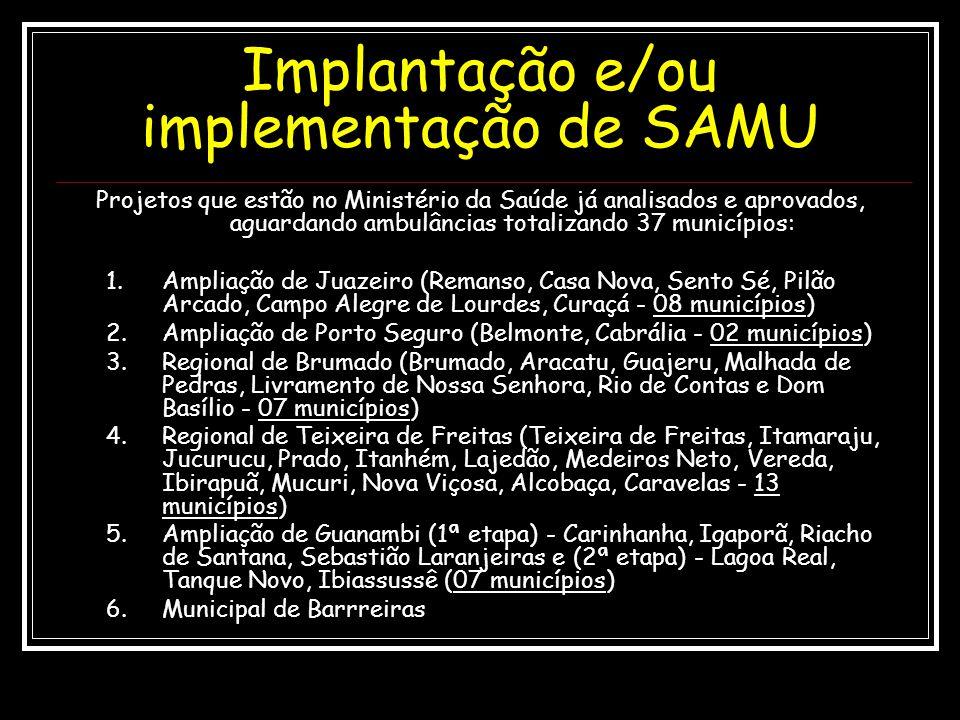 Projetos que estão no Ministério da Saúde já analisados e aprovados, aguardando ambulâncias totalizando 37 municípios: 1.Ampliação de Juazeiro (Remans