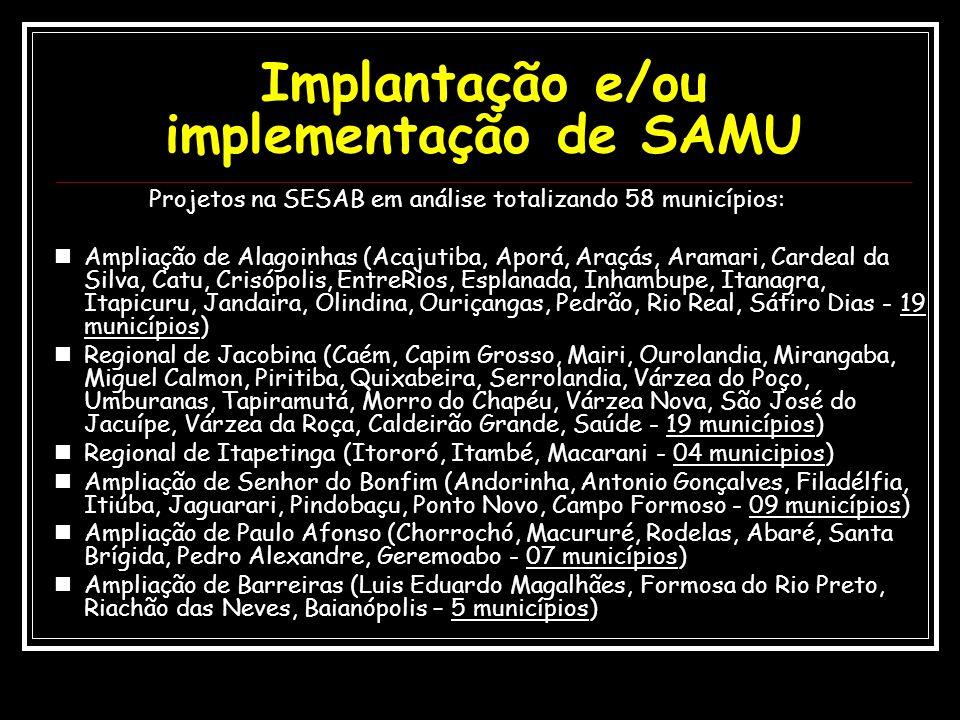 Projetos na SESAB em análise totalizando 58 municípios: Ampliação de Alagoinhas (Acajutiba, Aporá, Araçás, Aramari, Cardeal da Silva, Catu, Crisópolis