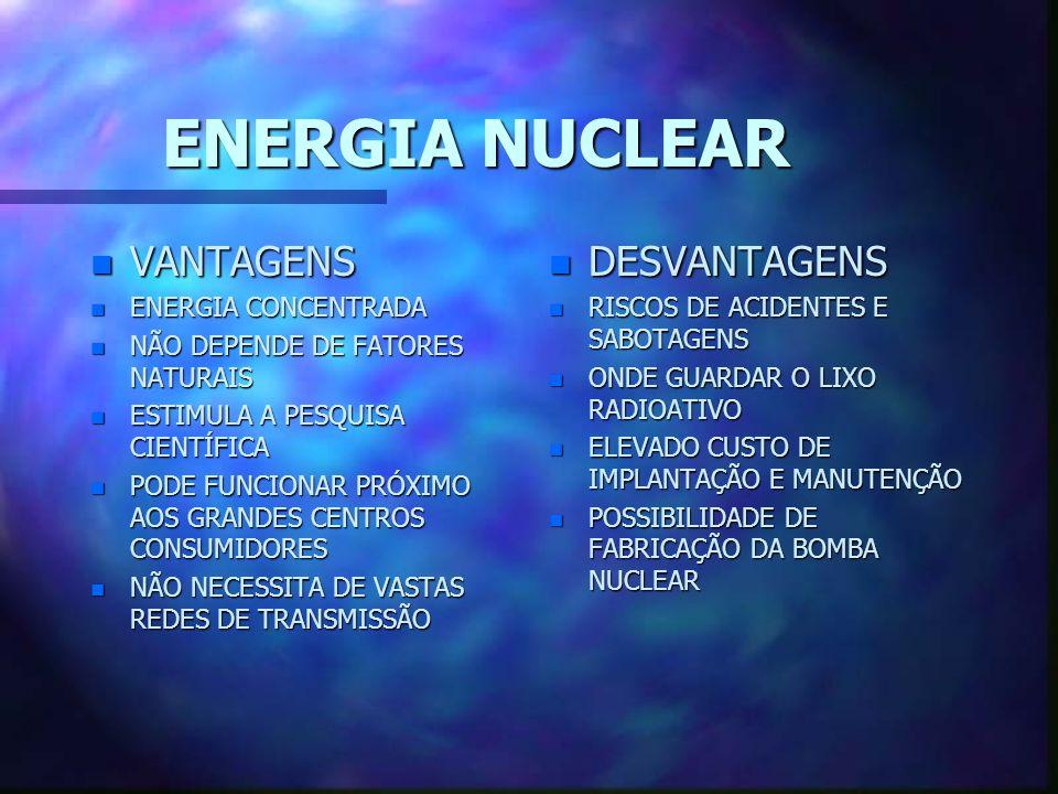 ENERGIA HIDRÁULICA n VANTAGENS n FONTE LIMPA n RENOVÁVEL n CUSTO ZERO DA MATÉRIA- PRIMA n GRANDE QUANTIDADE DE RIOS n DESVANTAGENS n DEPENDE DE FATORE