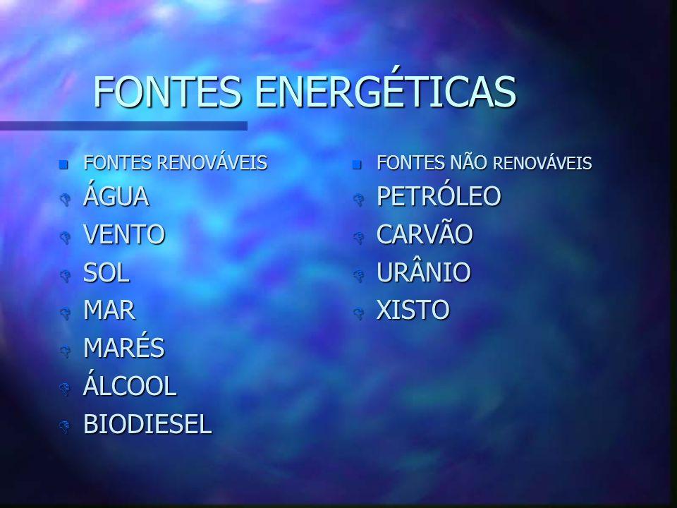 FONTES ENERGÉTICAS n FONTES RENOVÁVEIS D ÁGUA D VENTO D SOL D MAR D MARÉS D ÁLCOOL D BIODIESEL n FONTES NÃO RENOVÁVEIS D PETRÓLEO D CARVÃO D URÂNIO D XISTO