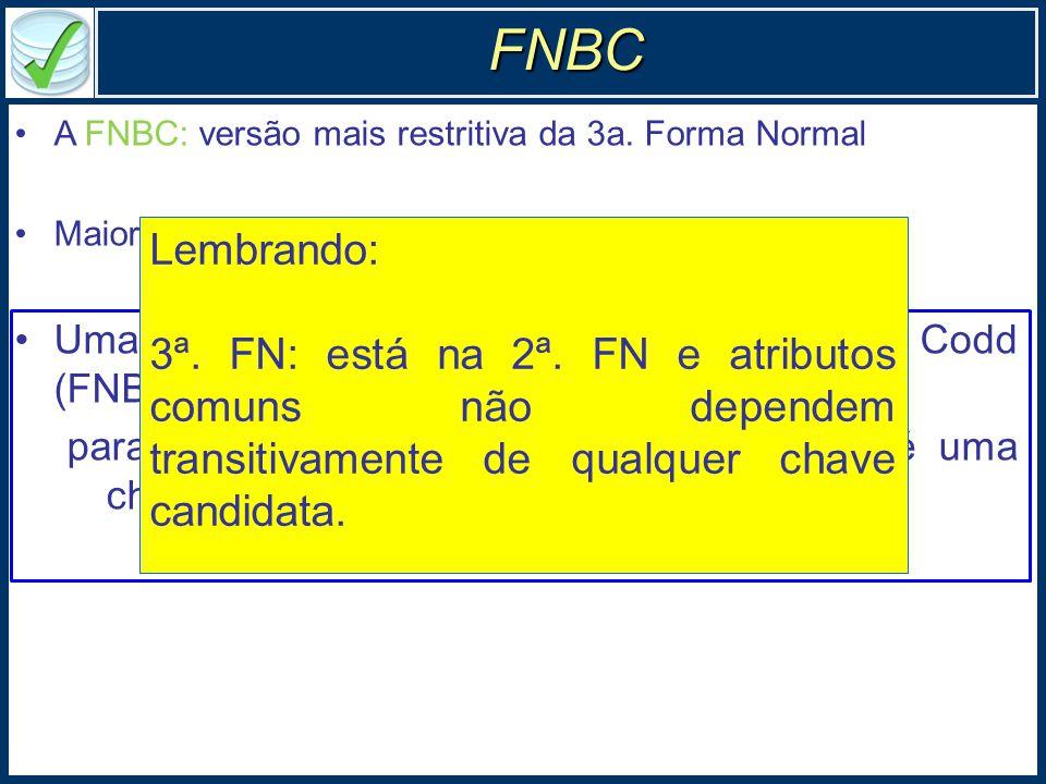 A FNBC: versão mais restritiva da 3a.