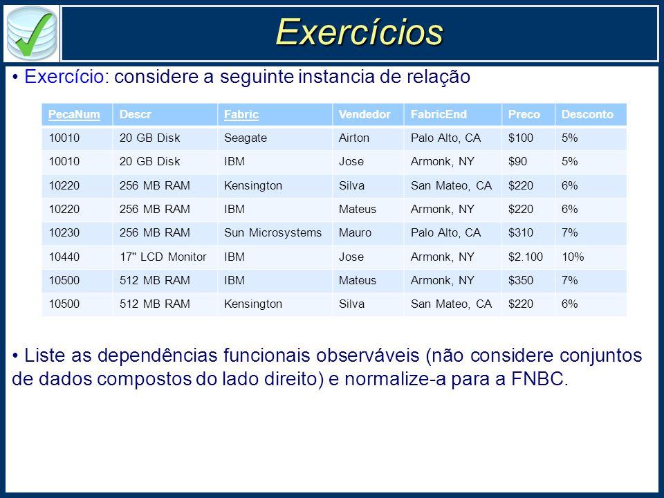 Exercícios Exercício: considere a seguinte instancia de relação Liste as dependências funcionais observáveis (não considere conjuntos de dados compostos do lado direito) e normalize-a para a FNBC.