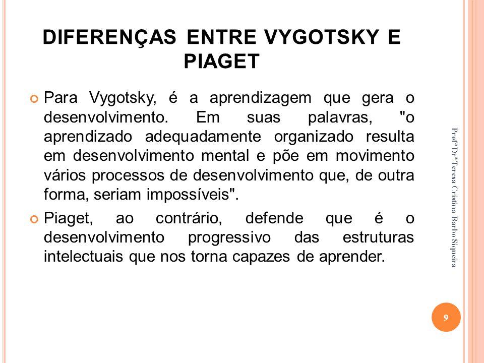 DIFERENÇAS ENTRE VYGOTSKY E PIAGET Para Vygotsky, é a aprendizagem que gera o desenvolvimento. Em suas palavras,