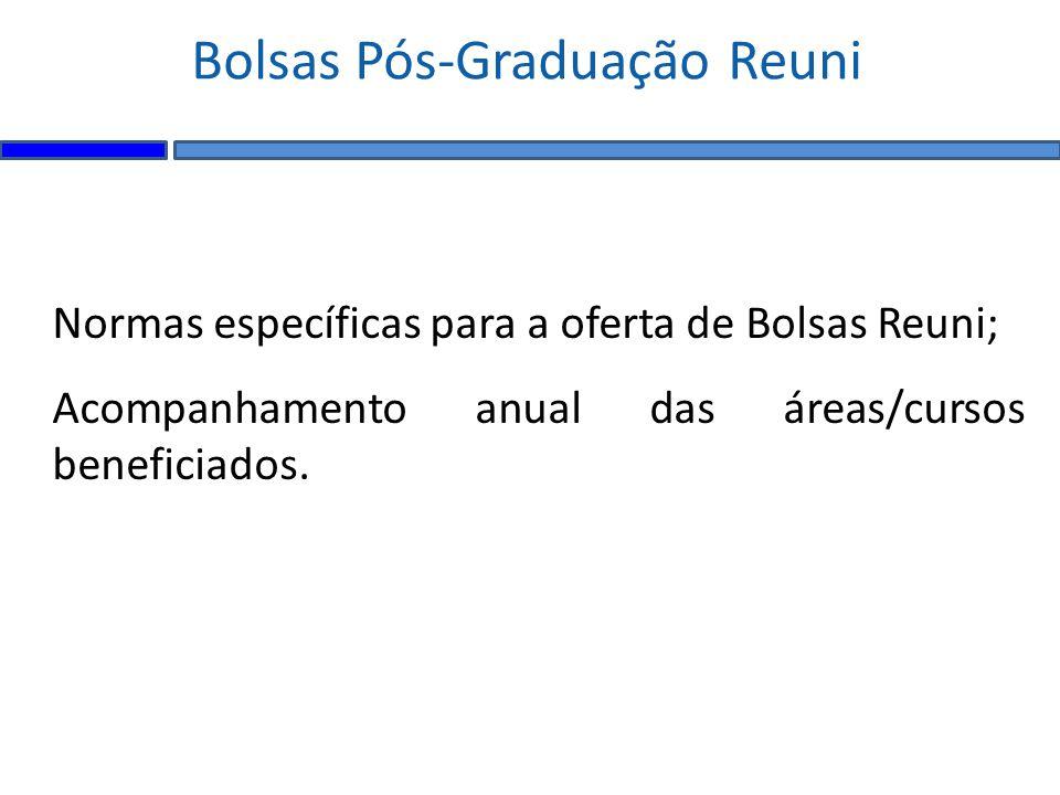 Normas específicas para a oferta de Bolsas Reuni; Acompanhamento anual das áreas/cursos beneficiados.