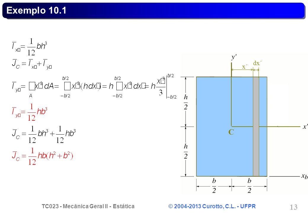 TC023 - Mecânica Geral II - Estática © 2004-2013 Curotto, C.L. - UFPR 13 C dx´ x´x´ Exemplo 10.1