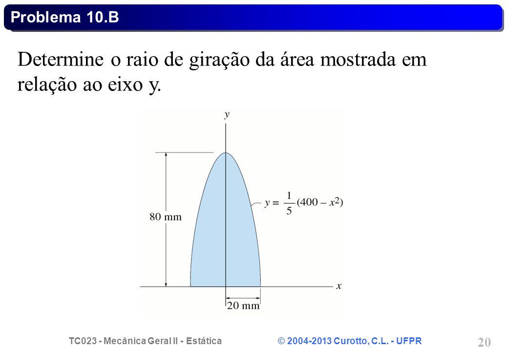 TC023 - Mecânica Geral II - Estática © 2004-2013 Curotto, C.L. - UFPR 20 Determine o raio de giração da área mostrada em relação ao eixo y. Problema 1
