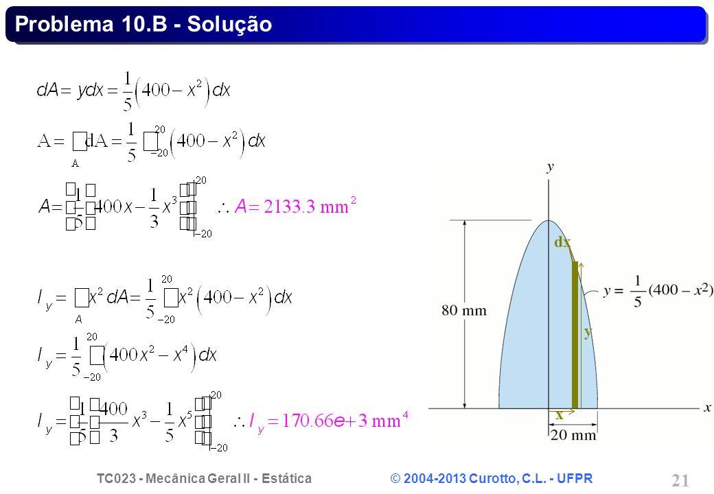 TC023 - Mecânica Geral II - Estática © 2004-2013 Curotto, C.L. - UFPR 21 dx y x Problema 10.B - Solução