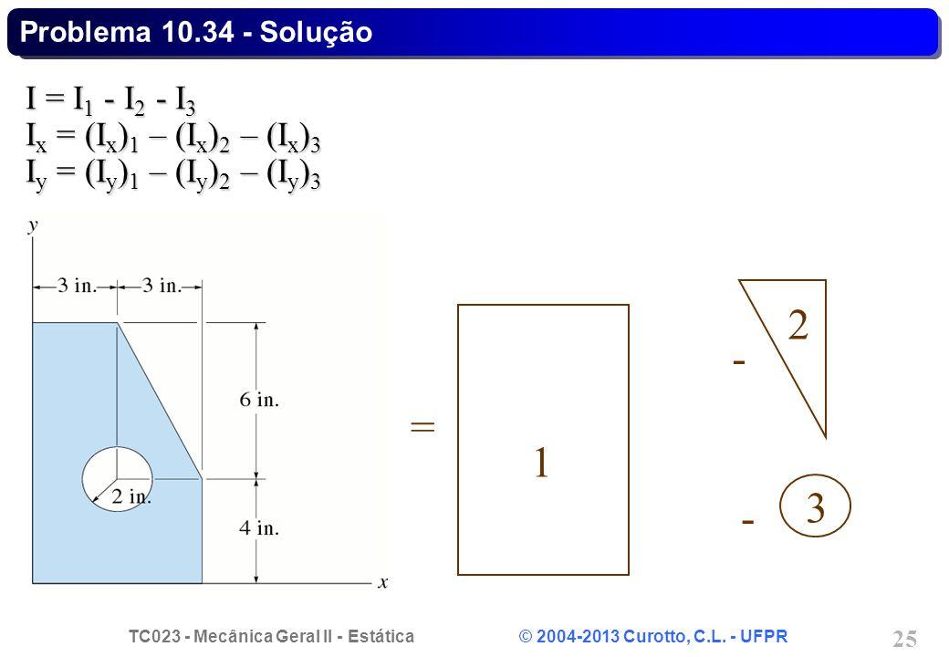 TC023 - Mecânica Geral II - Estática © 2004-2013 Curotto, C.L. - UFPR 25 I = I 1 - I 2 - I 3 I x = (I x ) 1 – (I x ) 2 – (I x ) 3 I y = (I y ) 1 – (I
