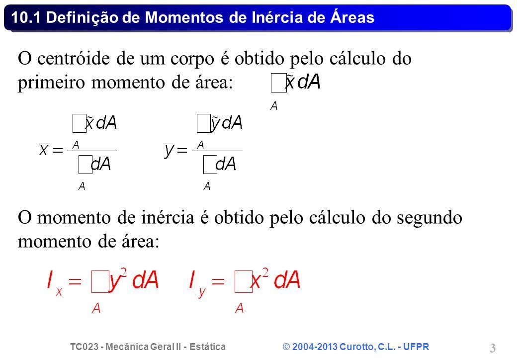TC023 - Mecânica Geral II - Estática © 2004-2013 Curotto, C.L. - UFPR 3 10.1 Definição de Momentos de Inércia de Áreas O centróide de um corpo é obtid
