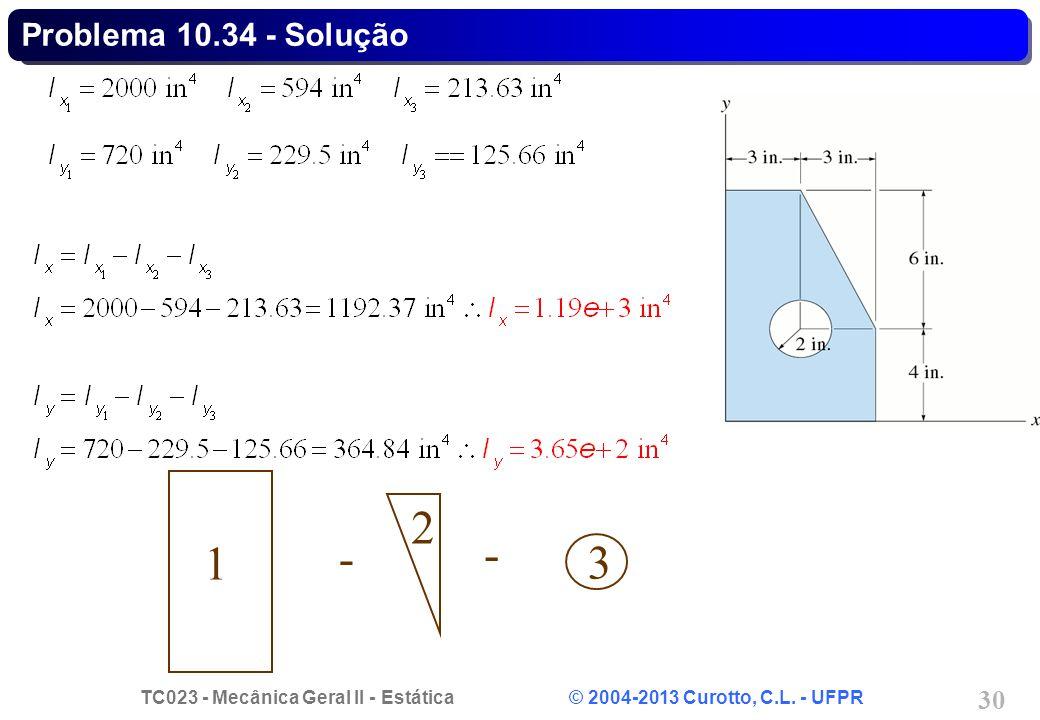 TC023 - Mecânica Geral II - Estática © 2004-2013 Curotto, C.L. - UFPR 30 - - 1 3 2 Problema 10.34 - Solução
