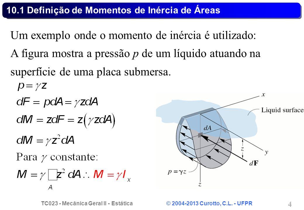 TC023 - Mecânica Geral II - Estática © 2004-2013 Curotto, C.L. - UFPR 4 Um exemplo onde o momento de inércia é utilizado: A figura mostra a pressão p