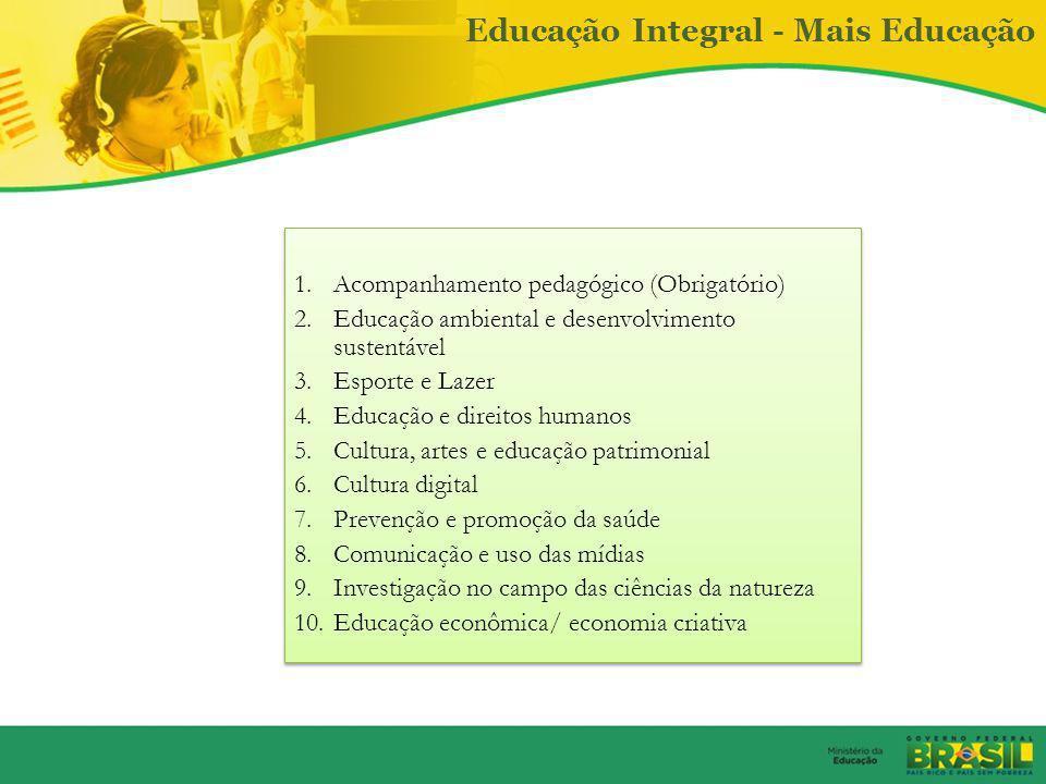 Educação Integral - Mais Educação Disciplinas obrigatórias para a formação do estudante e 10 macrocampos Articulação com os arranjos locais: Utilizaçã