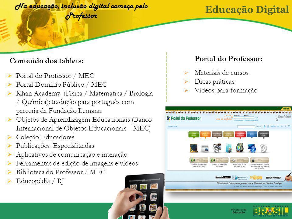 Tablets e computadores interativos (lousas eletrônicas) para professores como instrumento pedagógico Ofertas de cursos de formação em TICs 1.Proinfo I