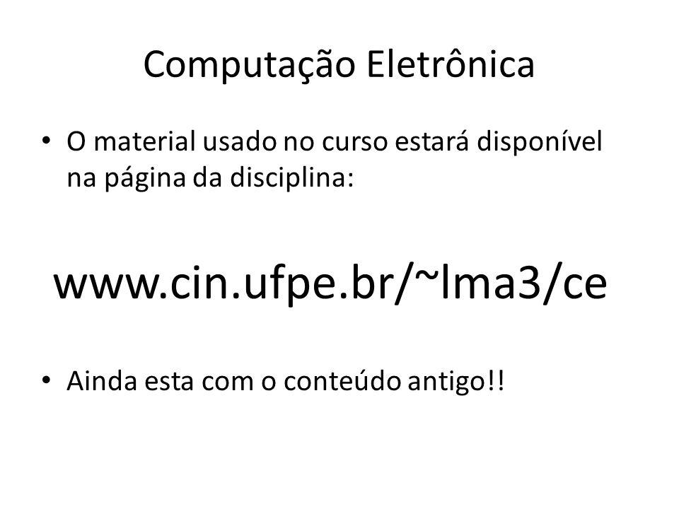 Computação Eletrônica Aulas expositivas com uso de datashow Aulas em laboratório Resolução de exercícios em sala de aula Verificação da presença a cada aula