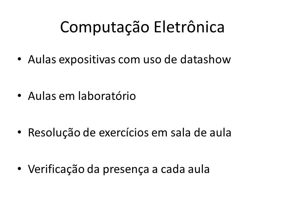 Computação Eletrônica Listas de exercícios – Têm o objetivo de auxiliar o aprendizado.