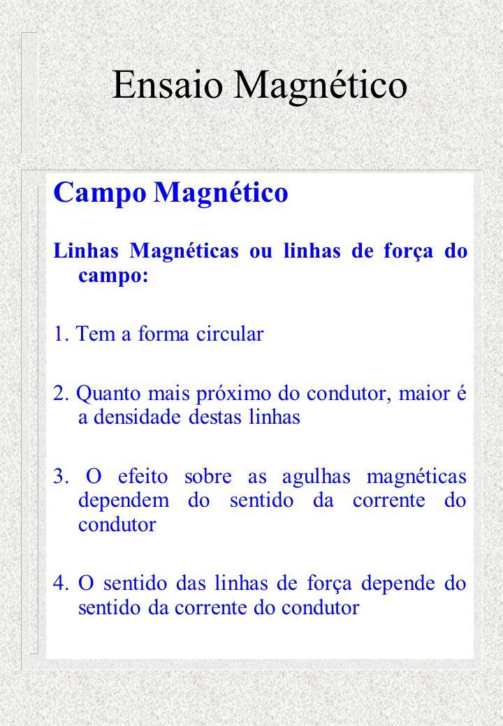 Ensaio Magnético Campo Magnético Linhas Magnéticas ou linhas de força do campo: 1. Tem a forma circular 2. Quanto mais próximo do condutor, maior é a